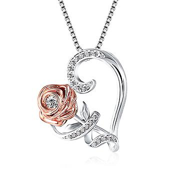 Collier pendentif Pink Heart, Romantique, Pour la Saint-Valentin, Bijoux élégants pour femmes, Chaîne de clavicule de mariage