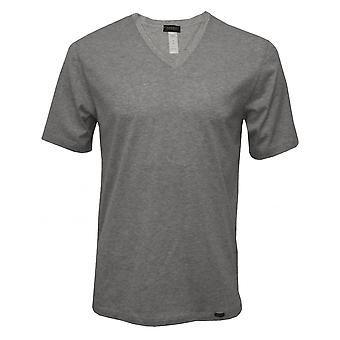 Hanro Sporty Stripe V-Neck Short-Sleeve T-Shirt, Middle Grey Melange