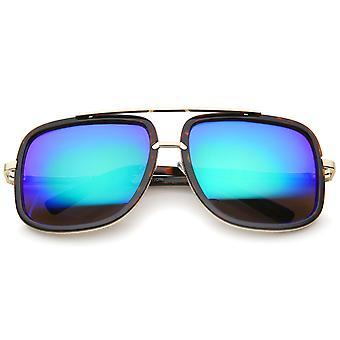 Moderne Brow Bar Mirror Lens Oversize kleurvierkantje Aviator zonnebril 59mm