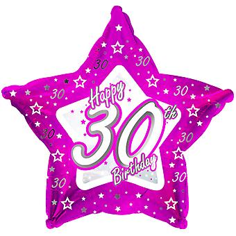 Creative Party Happy 30th Birthday Pink Star Balloon
