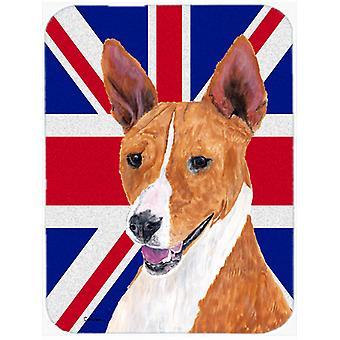 Basenji with English Union Jack British Flag Glass Cutting Board Large Size