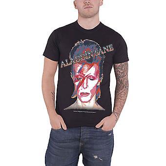David Bowie, T Shirt Aladdin Sane gezicht portret Band Logo officiële Mens nieuwe zwart