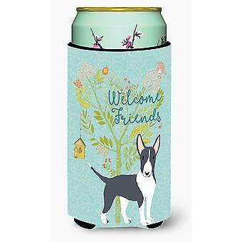 Welcome Friends Black Bull Terrier Tall Boy Beverage Insulator Hugger