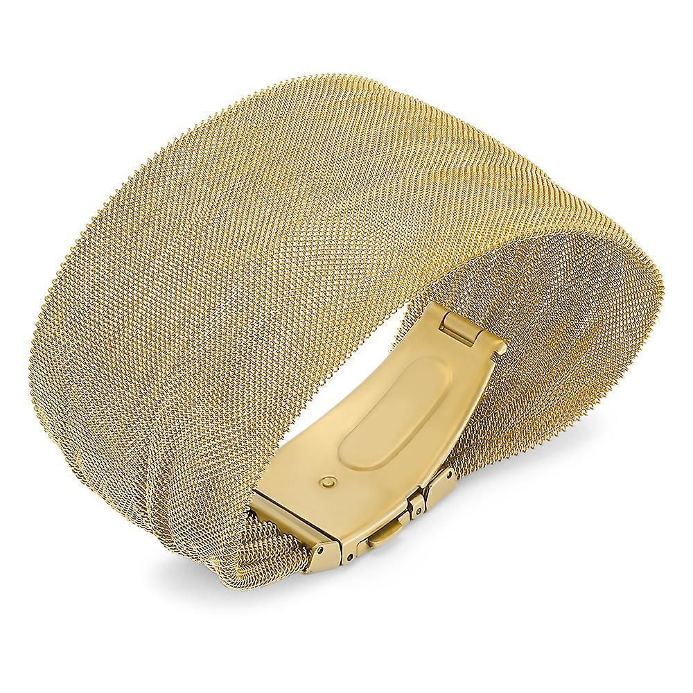 Ladies 18K Gold Plated Stainless Steel Mesh Bracelet