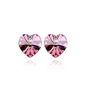 Womens cristallo pietra rosa cuore a forma di Stud orecchini BG1553