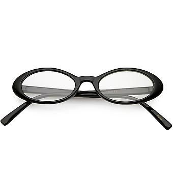 Womens Small Oval Glasses Slim Arms Clear Lens 48mm
