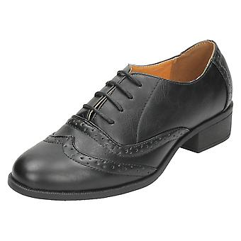 Ladies Spot On Mid Heel Lace Up Brogue Shoes F9962
