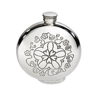 6Oz tondo Yorkshire Rose Pewter Flask