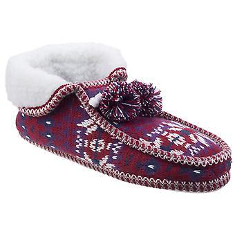 Divaz Womens Lapland Gebreide Slipper Rood