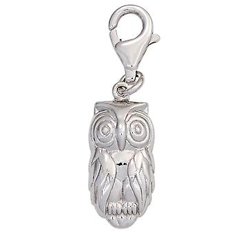 Single earrings OWL 925 sterling silver rhodium plated charm Silver Pendant