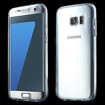 Crystal Case Hülle für Samsung Galaxy S7 Edge Blau Rahmen Full Body