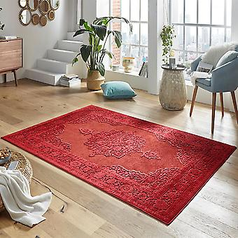 Design viscose rug willow in a relief look Red