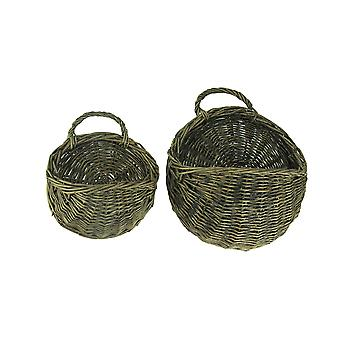 Rustic Round Woven Wicker Wall Basket Set of 2