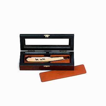 Deluxe elm burl box for 1 straight razor Direct from France