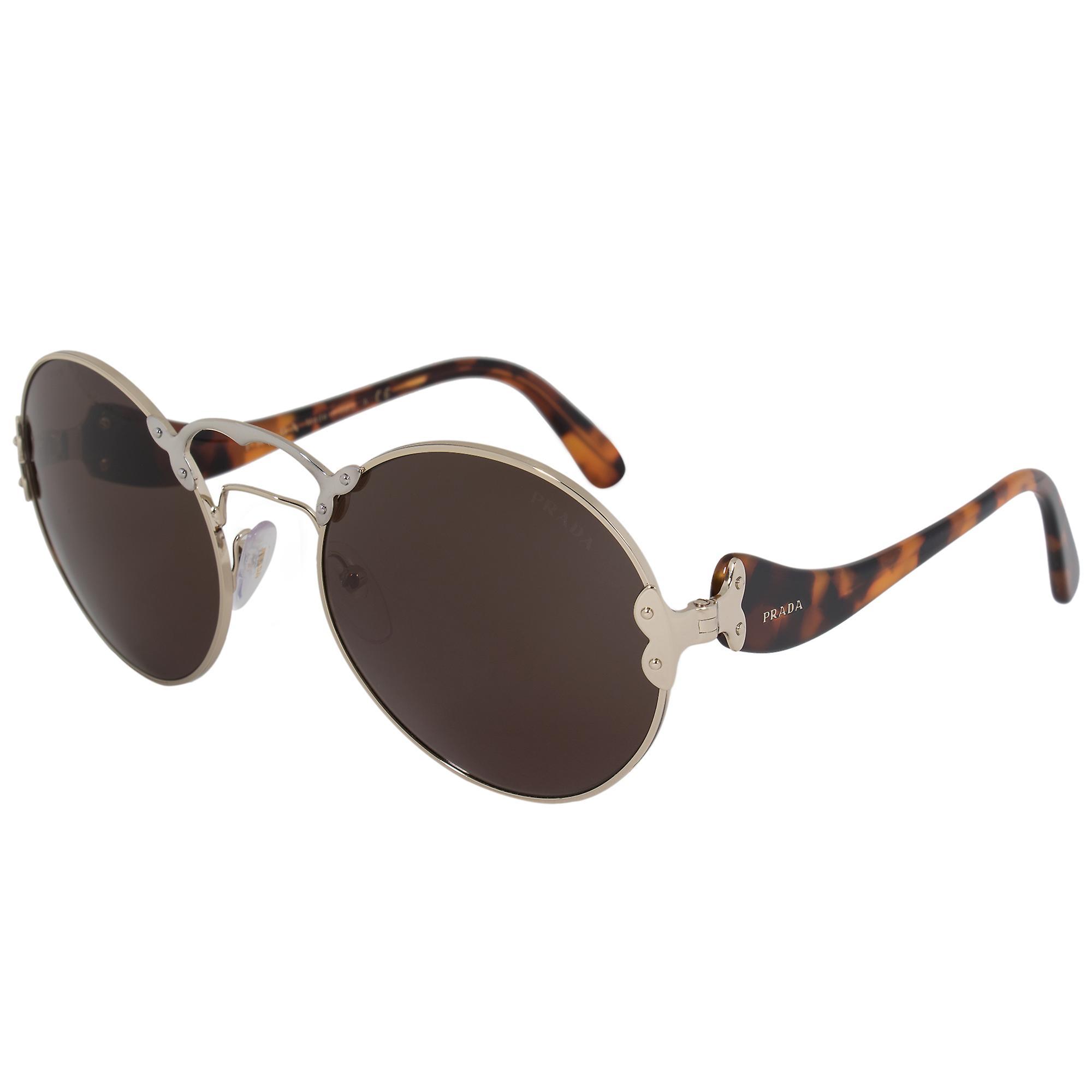Prada Wanderer Round Sunglasses PR55TS ZVN4J1 57 | Pale Gold Frame | Grey Lenses