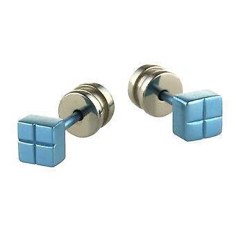 TI2 Titanium Square Ohrstecker - himmelblau