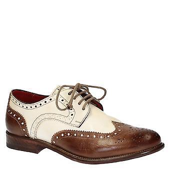 Leonardo Shoes Men-apos;s handmade derby wingtip brogue chaussures brun bufalo cuir