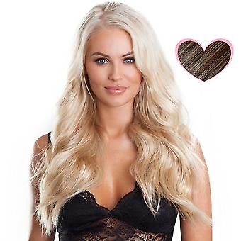 #4/18 dunkle Brünette mit goldblond Highlights - Clip-in Hair Extensions - vollen Kopf