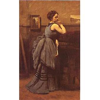 Frau in blau, Jean-Baptiste Camille Corot, 80x51cm