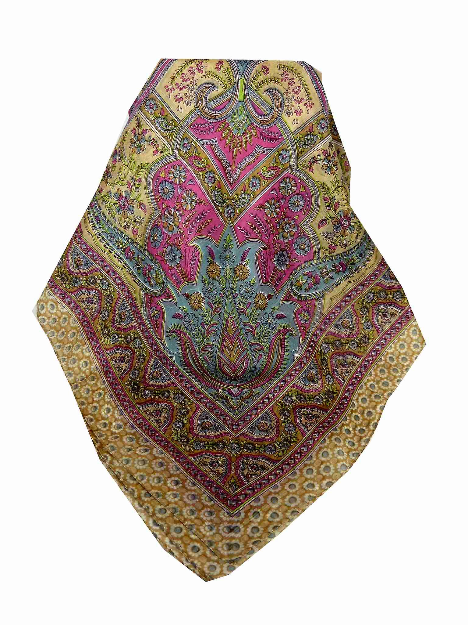 Mulberry Silk Traditional Square Scarf Ami Sand & Pearl by Pashmina & Silk