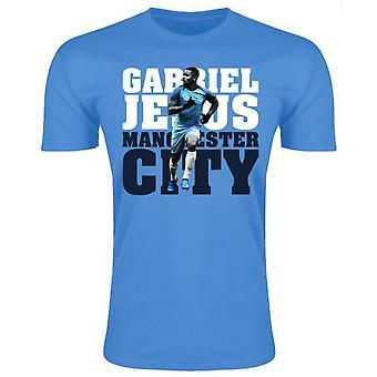 Gabriel Jesus Man City T-Shirt (Sky) - Kids