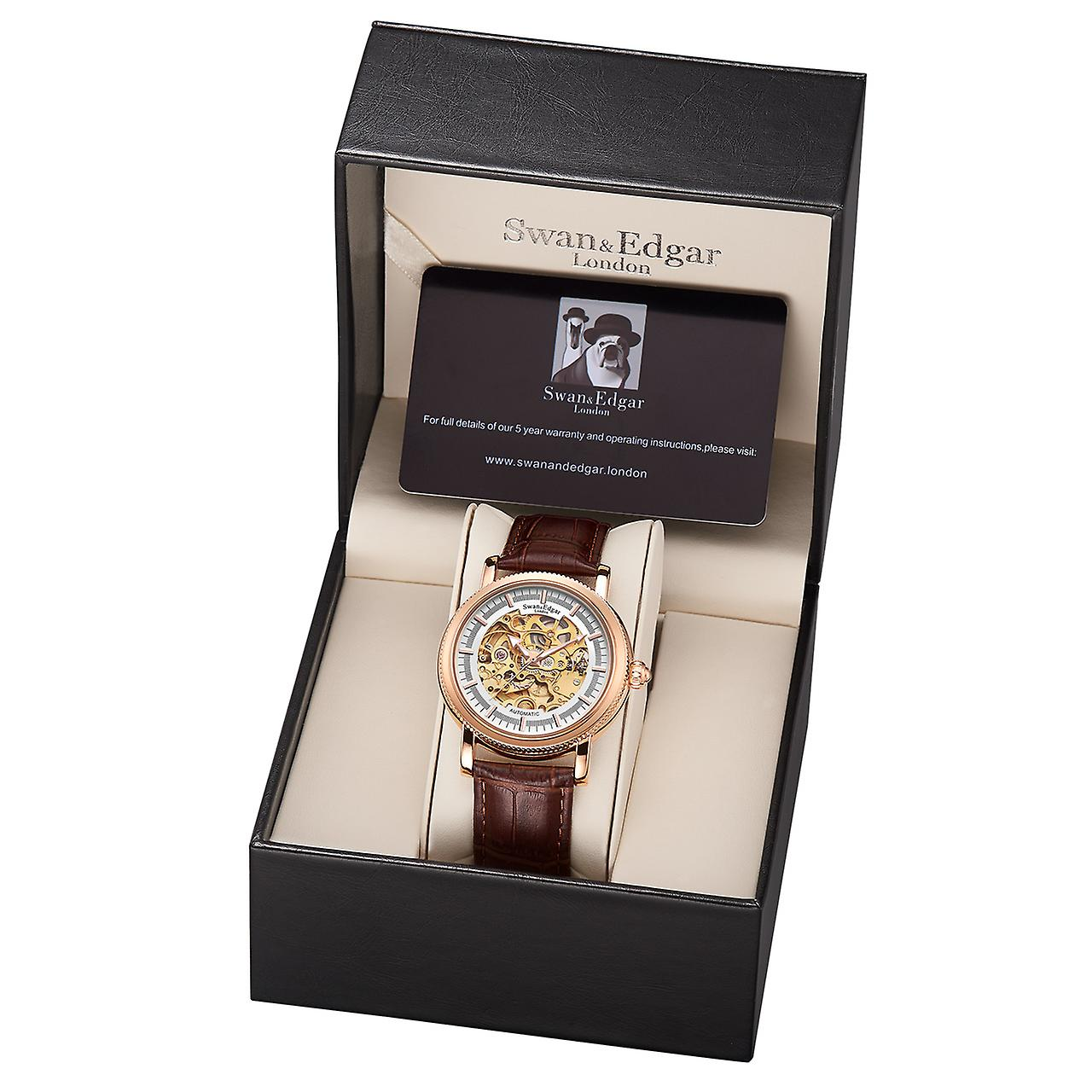 Swan & Edgar Skeleton Automatic Rose Mens Watch