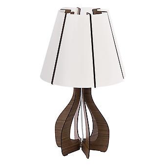 Eglo - Cossano Single lichte tafellamp wit eindigen met donker bruine houten basis EG94954