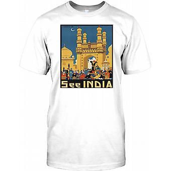 Siehe Indien - Vintage Retro-Reise-Plakat - Kinder T Shirt