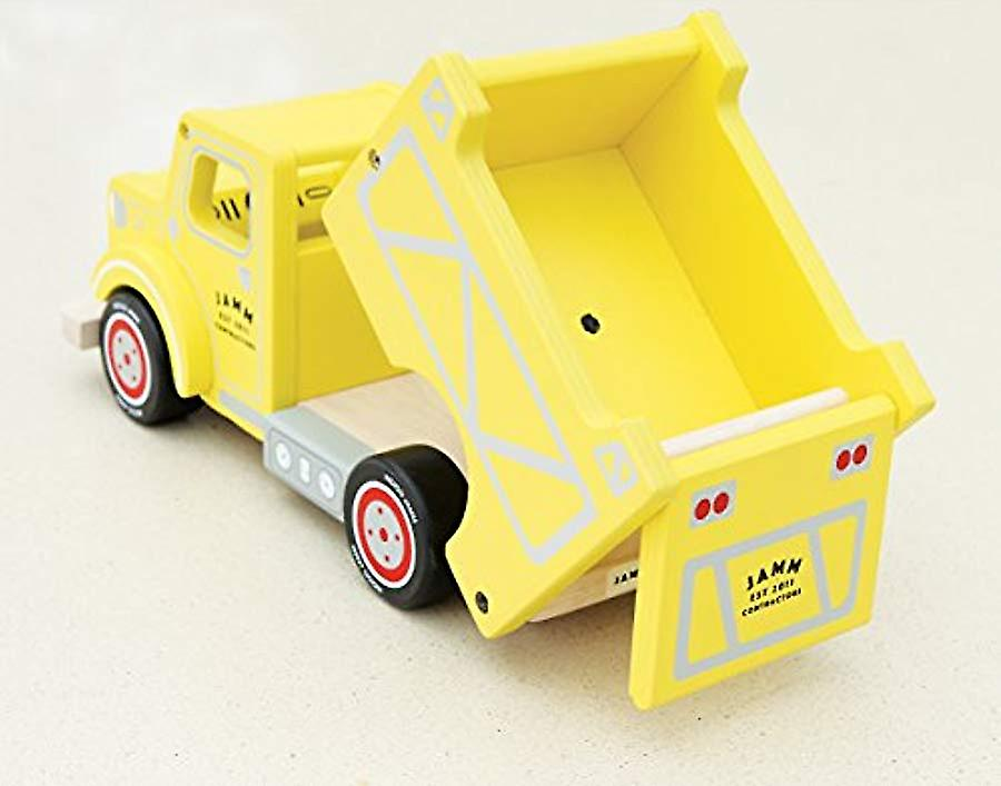Indigo Jamm Toby Truck, Retro Yellow Wooden Toy Vehicle with Moveable Tipper and Removable Driver