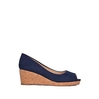 Loto in microfibra Odina Peep-Toe Wedge Shoes navy