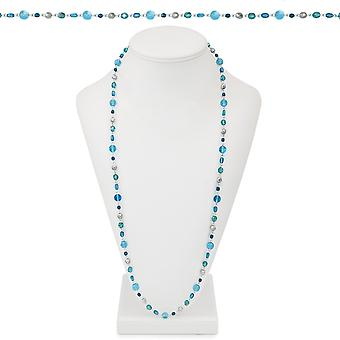 Eternal Collection Glacier Blue Multi Crystal 36 Inch Silver Tone Beaded Necklace