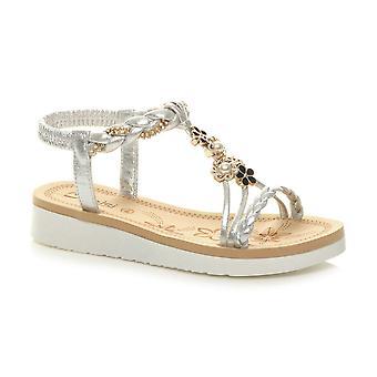 Ajvani Kobiety niski obcas diamante perłowy kwiat klin t-bar slingback sandały
