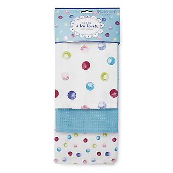 Cooksmart Spotty Dotty Pack of 3 Tea Towels