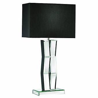 1 ljus trä bords lampa med speglade glas och svart skugga
