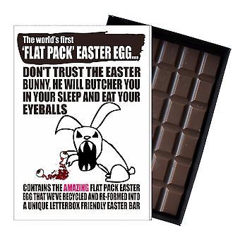 Śmieszne płaskie Easter Egg czekolada bar powitanie karty prezent mężczyźni chłopak mąż UK EIYF103