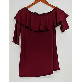H by Halston Women's Top XXS Jet Set Jersey Ruffle One-Shoulder Red A308099