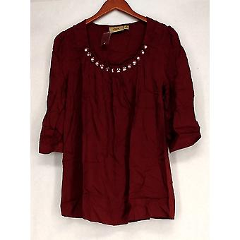 Motto 3/4 Sleeve Embellished Scoop Neck Brick Red Top A203065