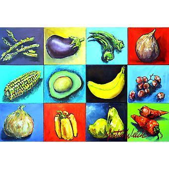 Carolines Treasures  MW1227PLMT Mixed Fruits and Vegetables Fabric Placemat
