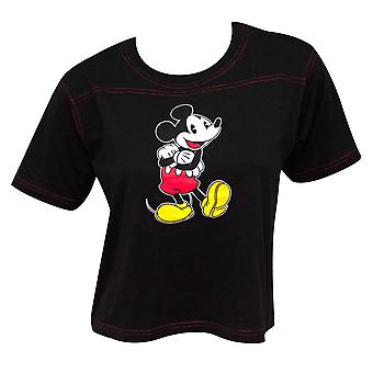 Mickey Mouse Contrast Stitch Cropped Black Women's Tee Shirt