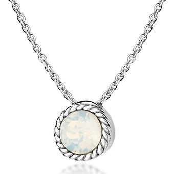 Tuscany Silver Necklace with Silver Silver Pendant Sterling 925 - with Opal Crystal - 46 cm