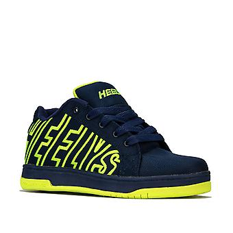 Children Boys Heelys Hx1 Split Skate Shoes In Navy Yellow- Wheeled Skate Shoes-