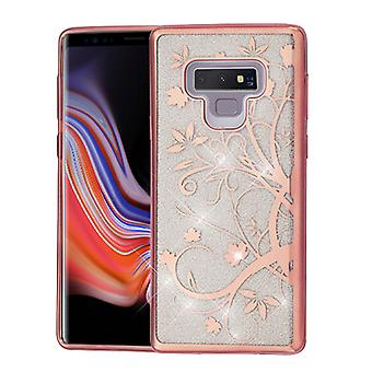 ASMYNA Electroplating Rose Gold Maple Vine (Transparent Clear) Full Glitter Hybrid Protector Cover  for Galaxy Note 9
