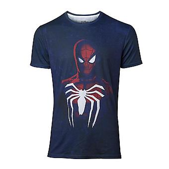 Marvel Spiderman Uomini's T-Shirt Blu Acid Wash Spiderman