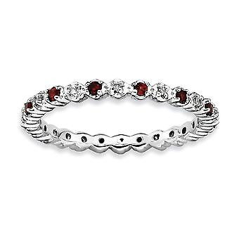 925 Sterling Silver Polished Prong set Rhodium plated Stackable Expressions Garnet and Diamond Ring Jewelry Gifts for Wo