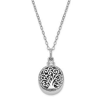 925 Sterling Silver Gift pouch Spring Ring Polished back Rhodium plated finish Tree Of Life Ash Holder 18inch Necklace J