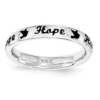 3.5mm 925 סטרלינג כסף מלוטש ביטויים לערום ביטויים שחור אמייל תקווה טבעת תכשיטים מתנות לנשים - גודל טבעת: 5 t