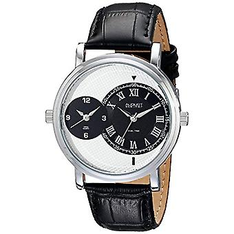 August Steiner-quartz with analog Display and black leather strap, AS8146SSB
