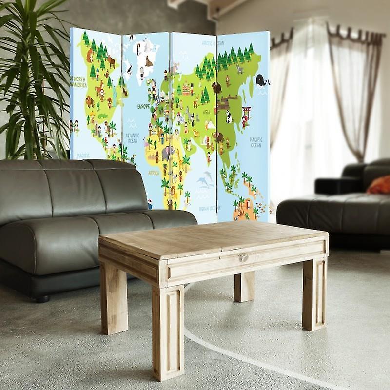 Diviseur de chambre, 4 panneaux, toile, carte du monde pour les enfants