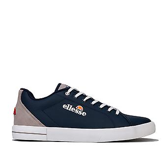 Mens Ellesse Taggia Leather Trainers In Navy Grey