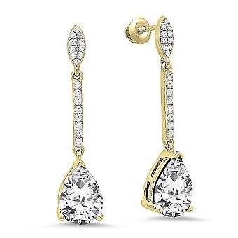 Dazzlingrock Collection 10K 10X7 MM Each Pear Created White Sapphire & Round Diamond Ladies Dangling Earrings, Yellow Gold